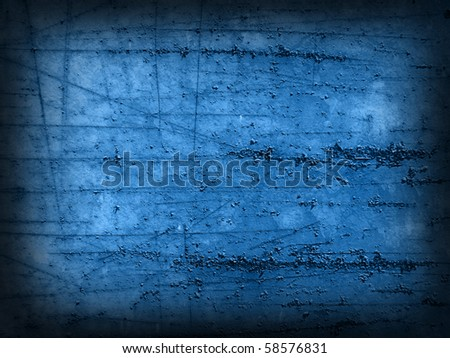 Grungy blue scratched stained cracked brushed old metal background. - stock photo