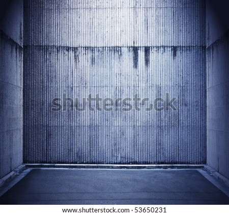 Grungy blue stone room - stock photo