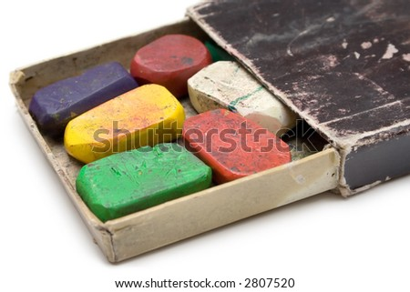 Grungy Box of Wax Crayons
