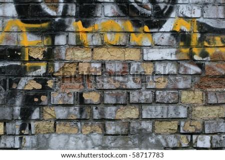 Grungy brick wall background - stock photo