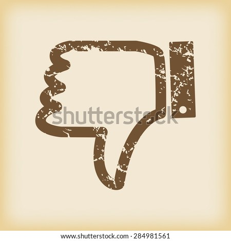 Grungy brown icon with dislike symbol, on beige background - stock photo