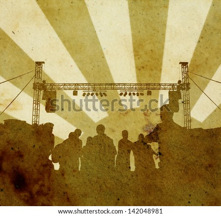 Grungy brown paper poster of party crowd with concert stage lighting and sound equipment against a decorative light ray. - stock photo