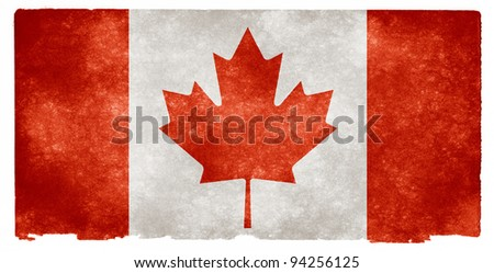 Grungy Canadian Flag On Vintage Paper - stock photo
