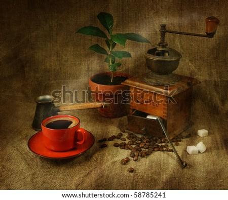 Grungy coffee still life - stock photo