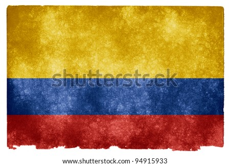 Grungy Colombian Flag on Vintage Paper