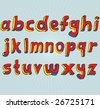 Grungy colourful, hand drawn lowercase alphabet / font / letters. - stock photo