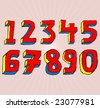 Grungy colourful, hand drawn numbers. - stock vector