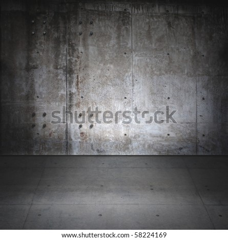 Grungy concrete room - stock photo