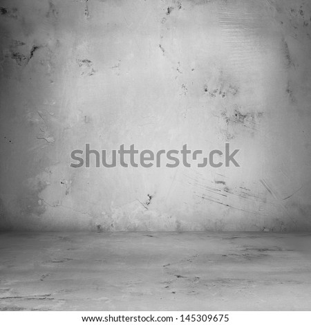 Grungy concrete room, distressed background - stock photo
