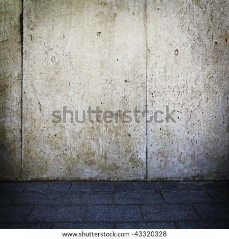 Grungy concrete wall and  floor