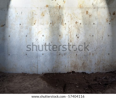 Grungy concrete wall and ground - stock photo