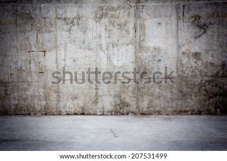 Grungy concrete wall and stone floor room as background
