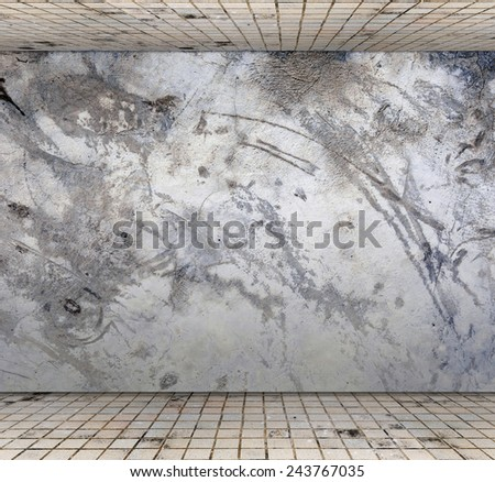 Grungy concrete wall with floor tile, Template for product display - stock photo