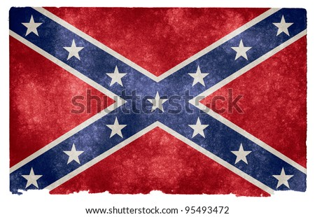 Grungy Confederate Flag on Vintage Paper - stock photo