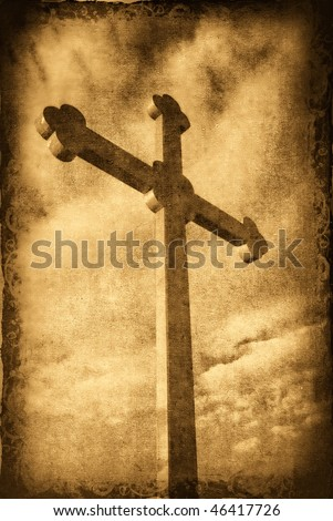 Grungy cross silhouette with clouds in the background - stock photo