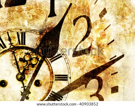 Grungy design with mysterious time and clock composition in warm tone - stock photo