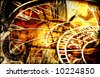 Grungy design with mysterious time machines and clock composition in warm tone - stock photo