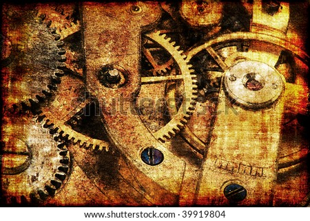 Grungy design with mysterious time machines  in warm tone