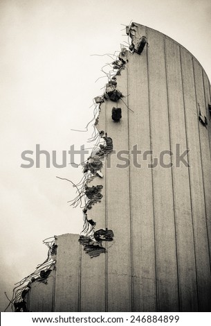 Grungy Detail Of A Partly Demolished Building - stock photo