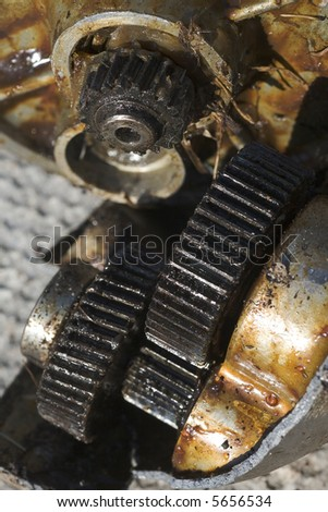 Grungy Dirty Gears - stock photo