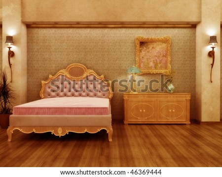Grungy distressed Baroque inspired hotel room with antique feel. - stock photo