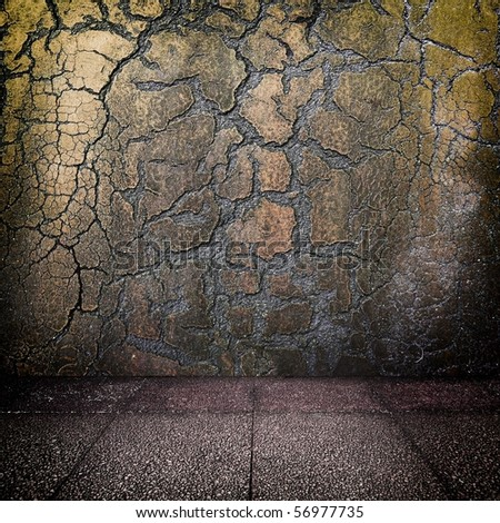Grungy distressed wall and floor - stock photo