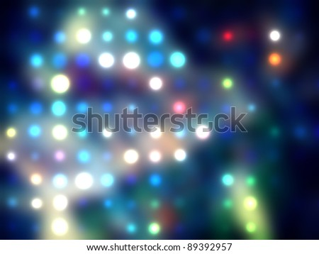 grungy dotted blurred background of colored lights. Disco blue lights techno texture. - stock photo