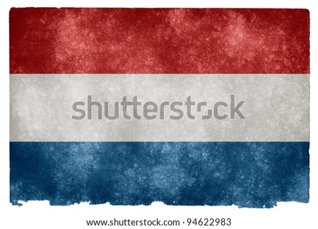 Grungy Dutch Flag on Vintage Paper - stock photo