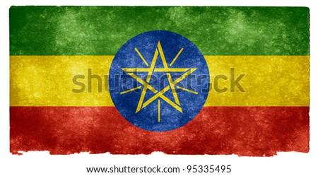 Grungy Ethiopian Flag on Vintage Paper - stock photo