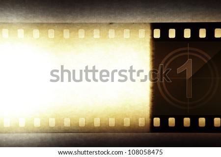 Grungy film negative background, copy space - stock photo