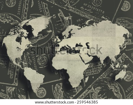 Grungy financial background from hundred bucks banknotes and Earth map - stock photo