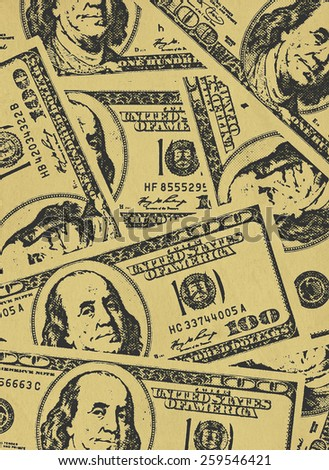 Grungy financial  background from hundred us dollar banknotes - stock photo