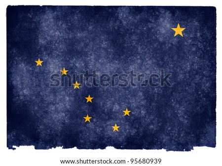 Grungy Flag of Alaska on Vintage Paper - stock photo