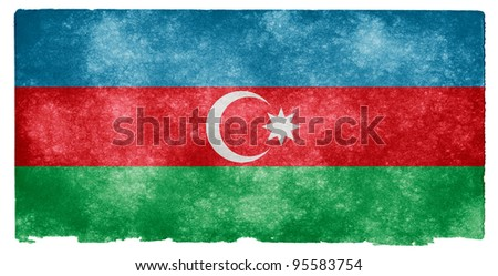 Grungy Flag of Azerbaijan on Vintage Paper - stock photo