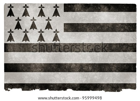 Grungy Flag of Brittany on Vintage Paper (Brittany being a region in the north-west of France, where the flag is also known as Gwenn-ha-du) - stock photo