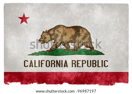Grungy Flag of California on Vintage Paper - stock photo