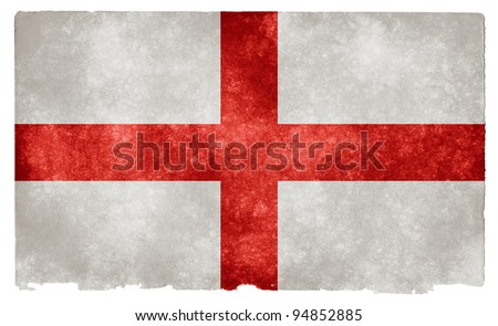 Grungy Flag of England on Vintage Paper - stock photo