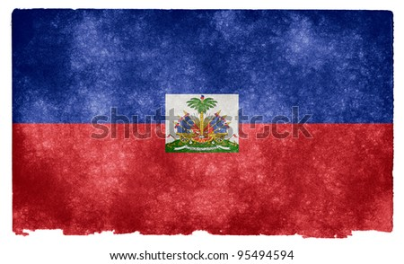 Grungy Flag of Haiti on Vintage Paper