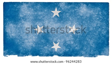 Grungy Flag of Micronesia on Vintage Paper