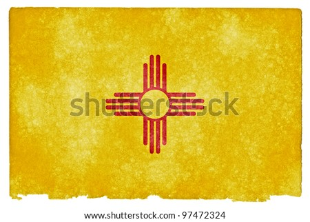 Grungy Flag of New Mexico on Vintage Paper - stock photo