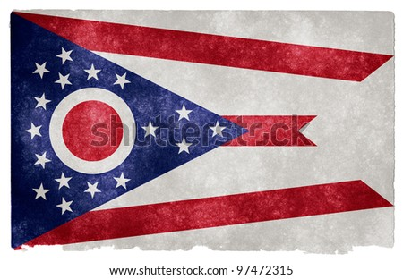 Grungy Flag of Ohio on Vintage Paper