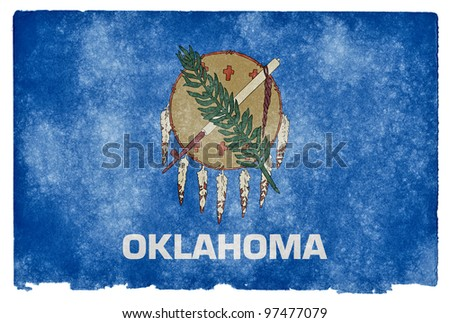 Grungy Flag of Oklahoma on Vintage Paper - stock photo