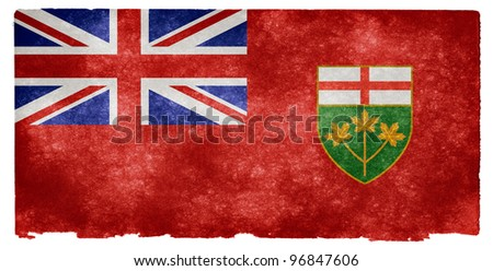 Grungy Flag of Ontario on Vintage Paper