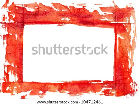 grungy frame on textured watercolor paper. - stock photo
