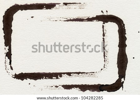 grungy frames on textured watercolor paper. - stock photo