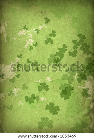 grungy green scattered shamrock background (more in series) - stock photo