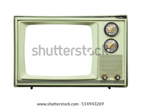 Grungy green vintage television set isolated with cut out screen.