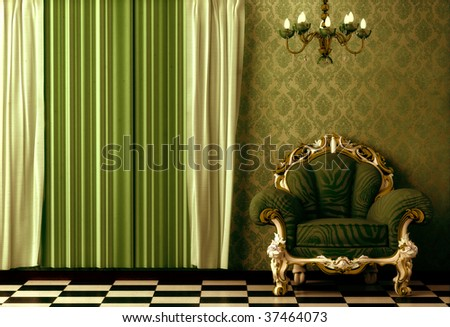 Grungy, gritty, Baroque, Rococo style vintage interior featuring a chandelier. - stock photo