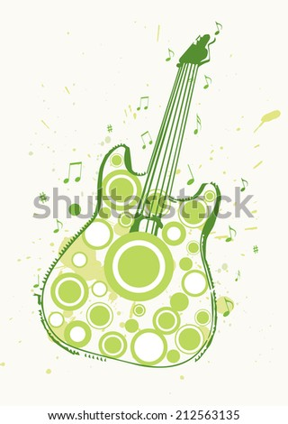 Grungy Guitar Spring Rock Poster Vector - stock photo