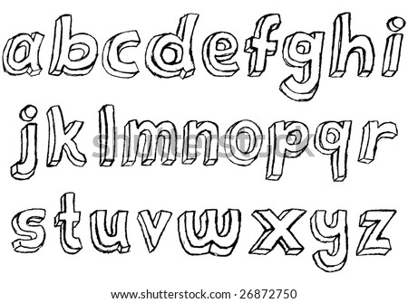 Grungy hand drawn lowercase alphabet / font / letters.